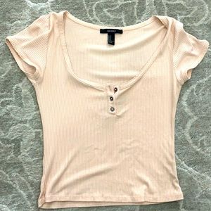 Forever 21 Cap Sleeve Blush Pink Crop Top
